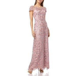 NWT JS Collections Floral Embroidered Gown Pink 4